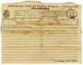 Telegrama da Sarah Affonso a José de Almada Negreiros